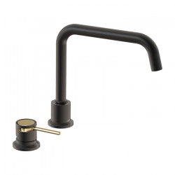 Tate Deck Mounted Sink Mixer Matte Black/Brushed Gold