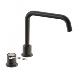 Tate Deck Mounted Sink Mixer Matte Black/Brushed Nickel