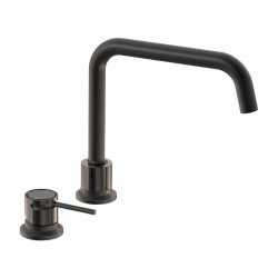 Tate Deck Mounted Sink Mixer Matte Black/Gloss Black