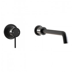 Tate Wall Mounted Basin/Bath Mixer Matte Black/Gloss Black