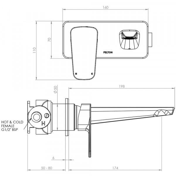 AXBFC Axiss Wall Mounted Basin Bath Mixer v2